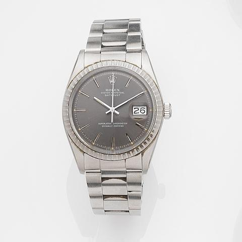 Rolex. A stainless steel automatic calendar bracelet watch Datejust, Ref:1603, Case No.392****, Movement No.D13****, Circa 1974