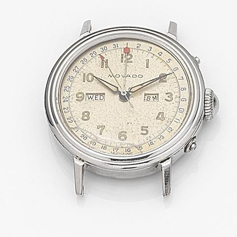 Movado. A stainless steel manual wind triple calendar watch headRef:6563, Case No.C496563, Circa 1960