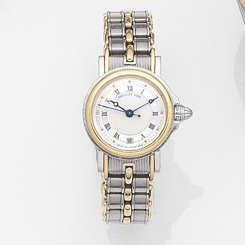 Breguet. A lady's stainless steel and gold automatic calendar bracelet watchMarine, Case No.65851, Movement No.3990, Circa 2000