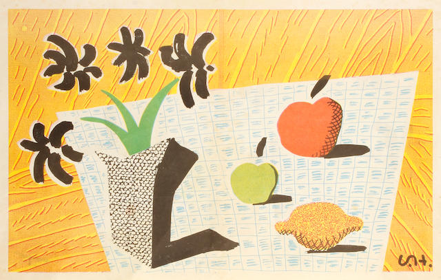 David Hockney R.A. (British, born 1937) Two Apples, One Lemon and Four Flowers Offset lithograph printed in colours, 1997, on thin wove, published in The Independent, 365 x 578mm (14 3/8 x 22 3/4in)(SH)