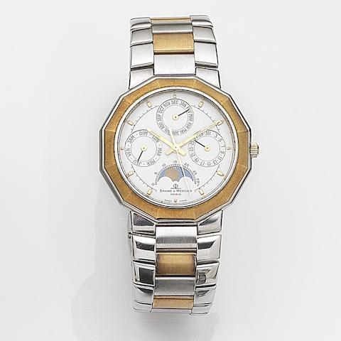 Baume & Mercier. A stainless steel quartz calendar bracelet watch Riviera, Ref:6131.3, Case No.1822639, Circa 1990