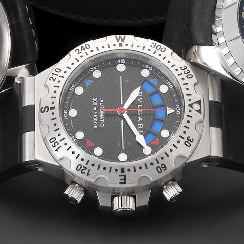 Bulgari. A stainless steel automatic chronograph wristwatch with box and papersDiagono Professional Regatta, Ref:SD40SRE, Case No.D1063, Sold 8th May 2002