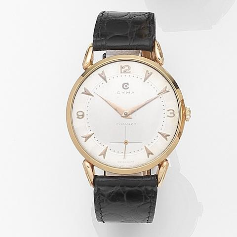 Cyma. An 18ct gold manual wind wristwatch Cymaflex, Case No.22244, Movement No.287489, Circa 1950