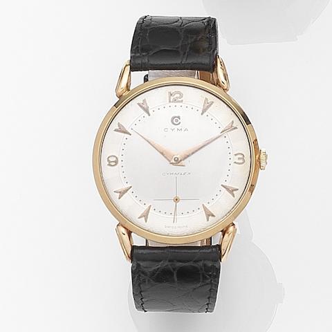 Cyma. An 18ct gold manual wind wristwatch Cymaflex, Case No.22244, Movement No.287489, Circa 1950