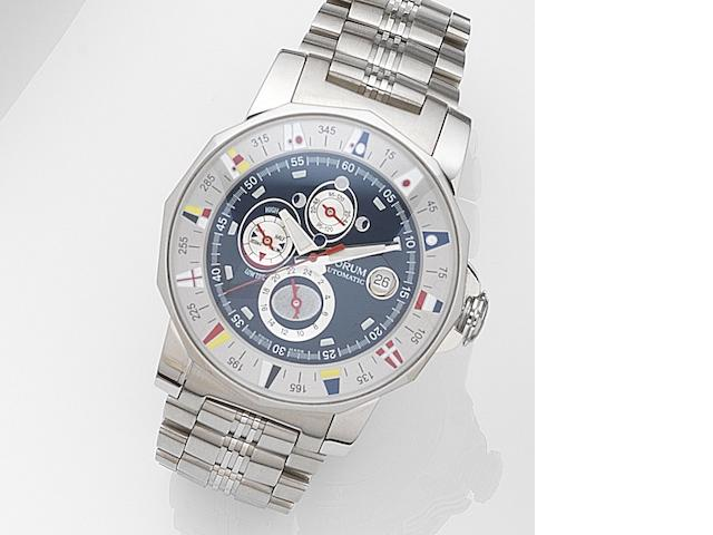 Corum. A stainless steel automatic calendar bracelet watch with tide indicator Admiral's Cup Marees, Ref:977.630.20, Case No.1684543, Movement No.585674, Circa 2002