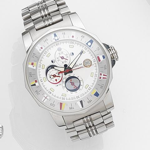 Corum. A stainless steel automatic calendar bracelet watch with tide indicatorAdmiral's Cup Marees, Ref:977.630.20, Case No.798083, Movement No.538277, Circa 2002