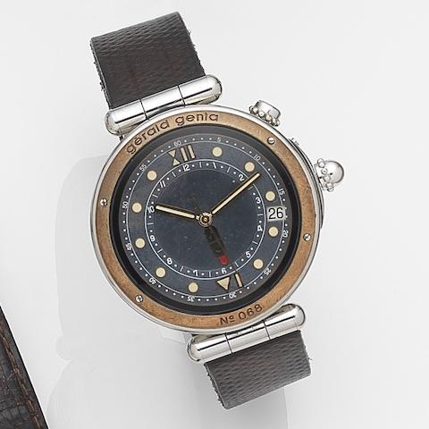 Gerald Genta. A stainless steel automatic alarm calendar wristwatch Bartolomeo, Ref:G3268.G  Case No.55742, Circa 1995
