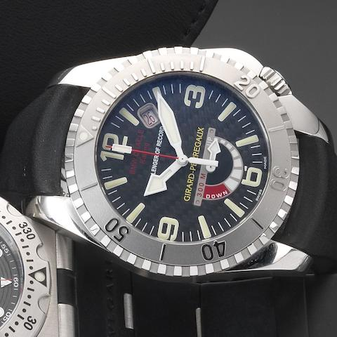 Girard-Perregaux. A stainless steel automatic calendar wristwatch with power reserve indicator Sea Hawk II USA 71 BMW Oracle Racing, Ref: 49905, Case No.438/500, Circa 2007
