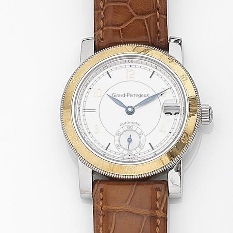 Girard-Perregaux. A stainless steel automatic calendar wristwatchRef:7750, Case No.BF-9, Circa 1995