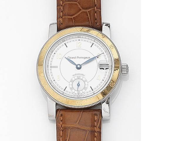 Girard-Perregaux. A stainless steel automatic calendar wristwatch Ref:7750, Case No.BF-9, Circa 1995