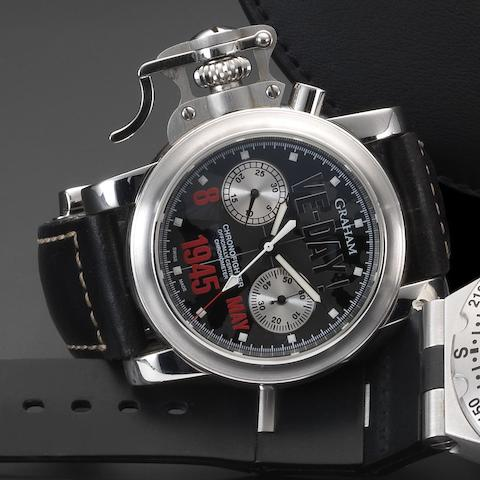 Graham. A stainless steel automatic chronograph wristwatch with box and papers Chronofighter VE-DAY!, Case No.076/100, Movement No.G 3957, Sold 2nd May 2007