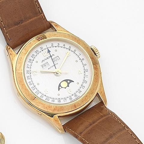 Juvenia. An 18ct gold automatic triple calendar wristwatch Ref:9676, Case No.027/136, Circa 2005