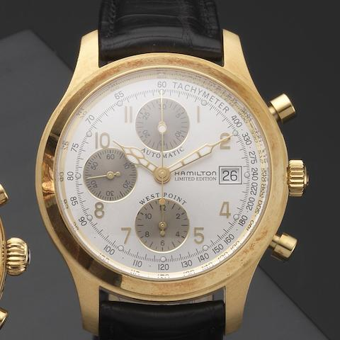 Hamilton. An 18ct gold automatic calendar chronograph wristwatch with box and papersWest Point Bicentennial, Ref:068530, Case No.011/200, Circa 2002