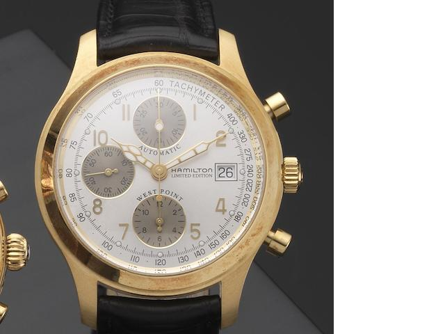 Hamilton. An 18ct gold automatic calendar chronograph wristwatch with box and papers West Point Bicentennial, Ref:068530, Case No.011/200, Circa 2002