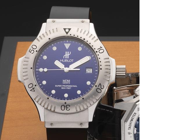 Hublot. A stainless steel automatic wristwatch  Super Professional, Ref:1850.1, Case No.416110, Circa 2000