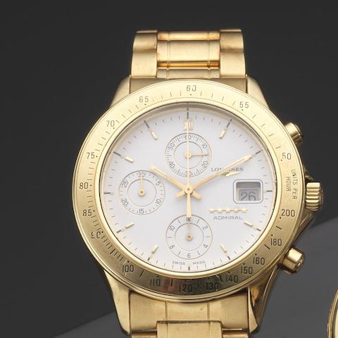 Longines. An 18ct gold automatic calendar chronograph bracelet watchAdmiral, Ref:1301 19, Case No.574761, Circa 2000