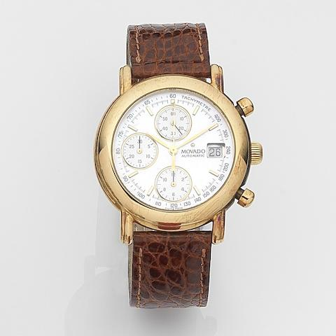 Movado. An 18ct gold automatic calendar chronograph wristwatch Ref:40.A7.870, Case No.322, Circa 1995