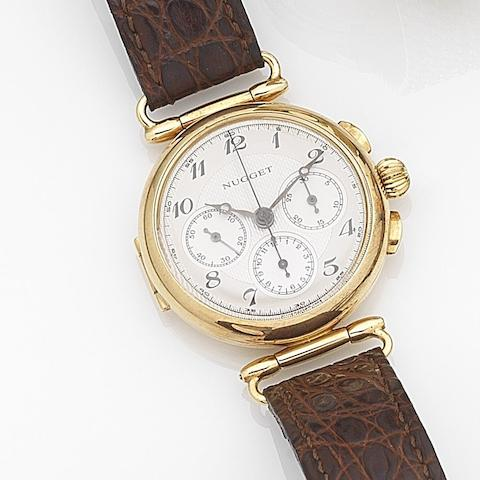 Minerva. An 18ct gold manual wind chronograph wristwatchNugget, Ref:011/100, Case No.731732, Movement No.4476807, Movement No.4467807, Circa 2000