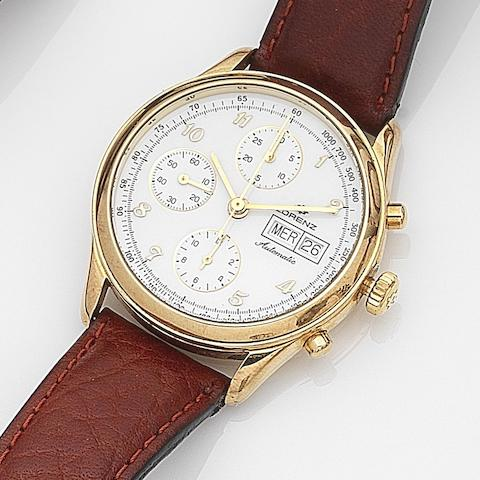 Lorenz. An 18ct gold automatic calendar chronograph wristwatch Case No.15334, Circa 2000