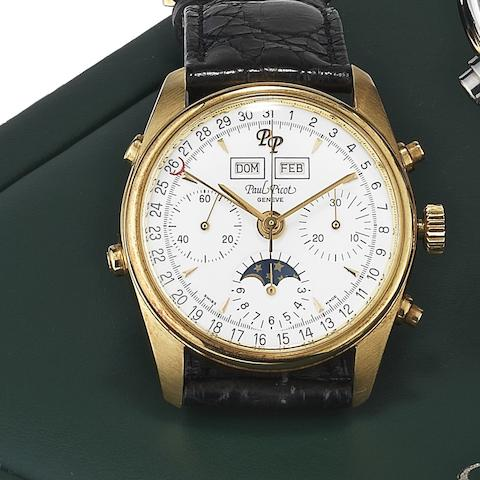 Paul Picot. An 18ct gold manual wind calendar chronograph wristwatch Ref:4991, Case No.26569, Circa 1995