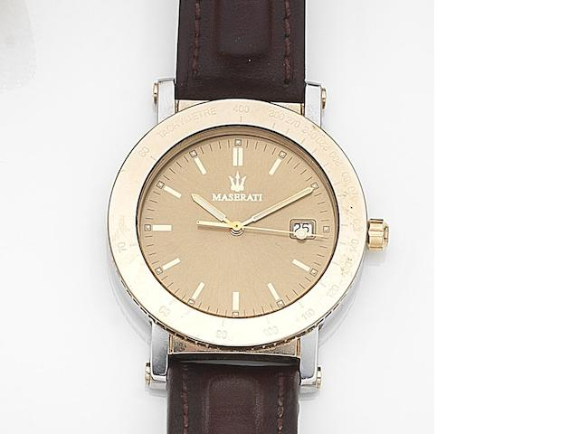 Maserati. A stainless steel quartz calendar wristwatch with box and papers Ghibli, Case No.16931, Circa 1995
