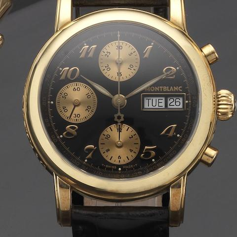 Montblanc. An 18ct gold automatic chronograph wristwatch with box and papers Meisterstück 4810, Case No.PL21535, Circa 2005