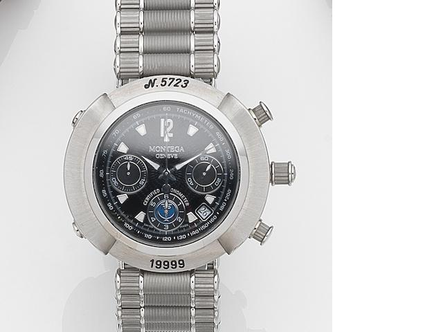 Montega. A stainless steel automatic calendar chronograph bracelet watch R9 MC01, Ref:19999, Case No.5723, Circa 2000