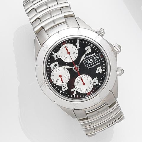 Movado. A stainless steel automatic calendar chronograph bracelet watch with box and papersKingmatic, Ref:84-G5-897, Case No.3746746, Circa 2000
