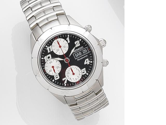Movado. A stainless steel automatic calendar chronograph bracelet watch with box and papers Kingmatic, Ref:84-G5-897, Case No.3746746, Circa 2000