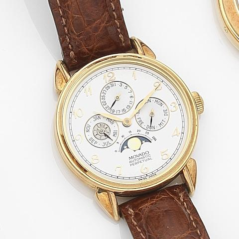 Movado. An 18ct gold automatic perpetual calendar wristwatch Ref:40.B3.881, Case No.197, Circa 2000