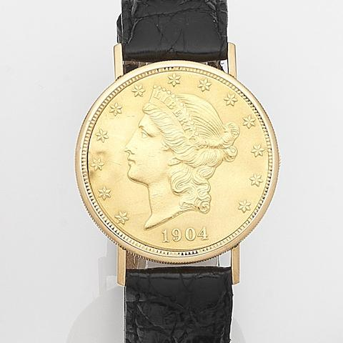 Kocher. An 18ct gold manual wind concealed face twenty dollar coin wristwatchCase No.316535, Circa 1965