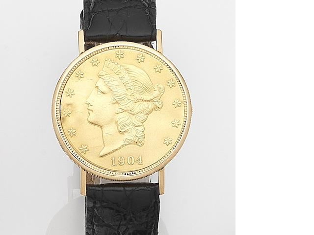 Kocher. An 18ct gold manual wind concealed face twenty dollar coin wristwatch Case No.316535, Circa 1965