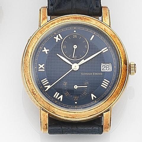 Schwarz Etienne. An 18ct gold automatic wristwatch with second time zone and power reserve indicator Ref:725401, Case No.055, Circa 2000