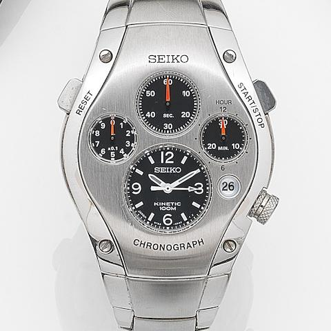 Seiko. A stainless steel automatic quartz calendar 1/10th second chronograph bracelet watch Sportura, Ref:9T82-0A50, Case No.030735, Circa 2000