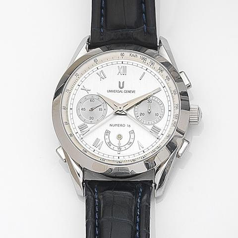 Universal Geneve. A stainless steel manual wind split second chronograph wristwatch with power reserve Master Tech, Ref:888.100, Case No.16/500, Circa 2005