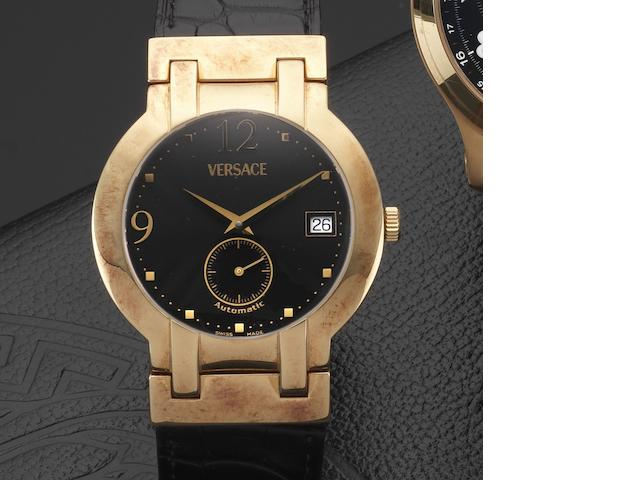 Versace. An 18ct gold automatic calendar wristwatch with box and papers Madison, Ref: BLA00, Case No.828940-0275, Circa 2005