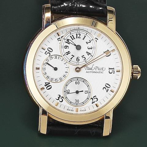 Paul Picot. An 18ct gold automatic regulator calendar wristwatchFirshire, Case No.184 17, Movement No.2892A2, Circa 2000