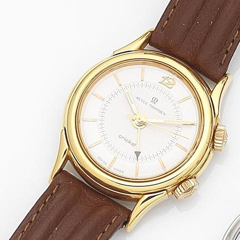 Revue Thommen. A gold plated manual wind alarm wristwatch Cricket, Ref:7926001, Case No.876, Circa 2005
