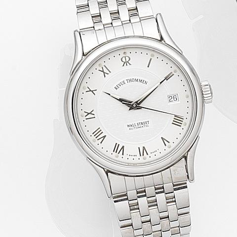 Revue Thommen. A stainless steel automatic calendar bracelet watch with box and papers Wall Street, Ref: 7810004, Case No.0498, Circa 2005