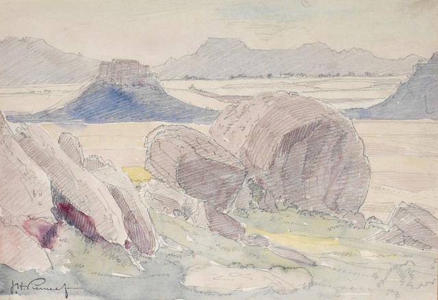 Jacob Hendrik Pierneef (South African, 1886-1957) Study of rocks in a landscape