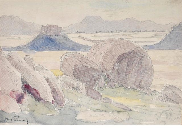 Jacob Hendrik Pierneef (South African, 1886-1957) Study of Rocks in a landscape,  wc