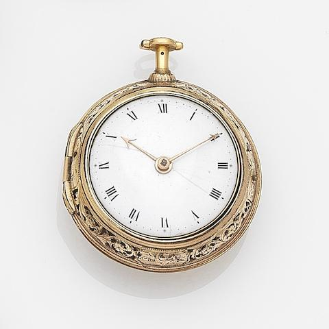 J. Ward, London. A gold key wind quarter repeating pair case pocket watchCirca 1730