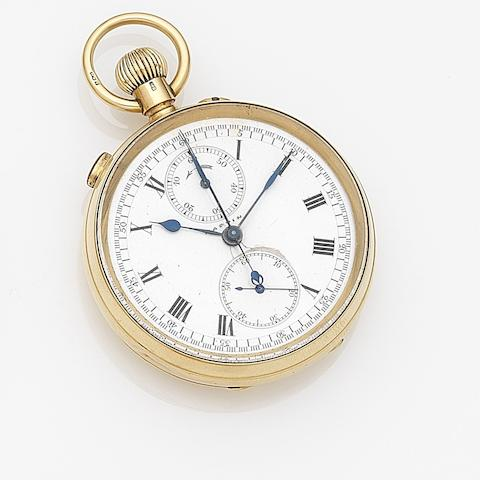 Mappin. An 18ct gold keyless wind open face split second chronograph pocket watch Case No.214660, London Hallmark for 1914