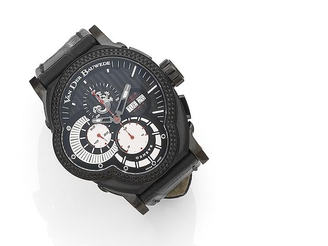 Van Der Bauwede. A PVD coated stainless steel and black diamond set automatic calendar chronograph wristwatch with box and papers Legend Rider, Case No.2350020749, Circa 2011