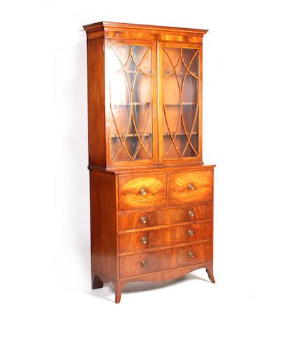 A Regency style mahogany secretaire bookcase