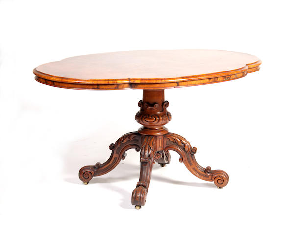 A Victorian walnut centre table