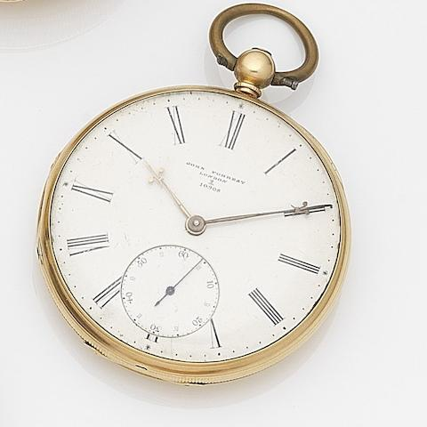 John Forrest, London. An 18ct gold key wind open face pocket watchCase, Dial and Movement No.2/10908, London Hallmark for 1854