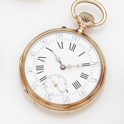 Boulenger. A 14ct gold keyless wind open face pocket watch Case No.93516, Circa 1900