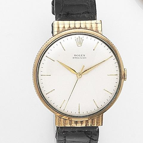 Rolex. A 9ct gold manual wind centre seconds wristwatchPrecision, Case No.25540, London Hallmark for 1965