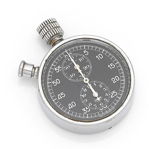 Heuer. A chrome plated manual wind chronograph dashboard stopwatchAutavia, Movement No.305184, Circa 1933